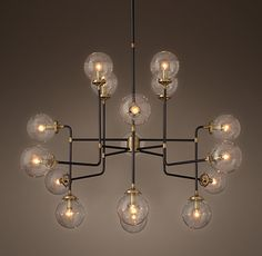 Bistro Globe Clear Glass 16-Light Chandelier Restoration Hardware - RH -