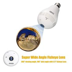 UOKOO 360-Degree Fisheye Panoramic Network Wireless Camera, LED Bulb Home Security System White (D)