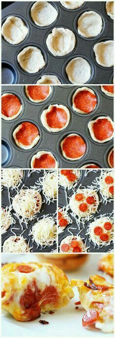 Deep Dish Pizza Bites our son loves this! Sunday nights during Walking dead we like to havea picnic style finger food night – we call it sushi Sunday ( Hubby andI get sushi 🙂 but our little one gets these or taco cups or sliders- Think Food, I Love Food, Good Food, Yummy Food, Tapas, Deep Dish, Cookies Et Biscuits, Picnic Style, Food To Make