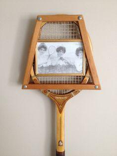 Vintage Wood Tennis Racket Picture Frame 5x7 466abd46d7b77