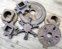 Rusty Lot of 7 Pieces Old Cast Iron and Metal Salvage Industrial Farm Machinery Parts on Etsy, $38.00