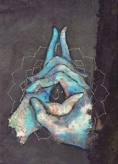Love the colours - inspo -Crown Chakra Mudra by Tilly Campbell-Allen Kundalini Yoga, Yin Yoga, Yoga Meditation, Arte Chakra, Mandala Lunar, Yoga Kunst, Vishuddha Chakra, Força Interior, Buddha