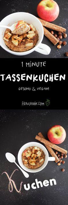 Tassenkuchen für die Mikrowelle | Apfel- Zimt - herbstlicher mug cake, gesund & vegan... In 5 Minuten zusammengemischt und in einer gebacken.