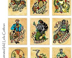Old School Tattoo Art Prints Mexican Loteria SET by illustratedink