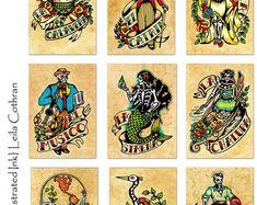 Vieja escuela Tattoo arte imprime Loteria por illustratedink
