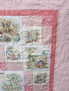 Pretty pink beatrix potter quilt, nursery, baby shower gift!