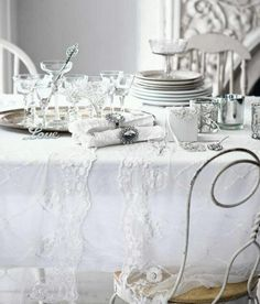 Vintage White & Silver Table...Timeless