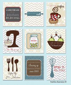 Kitchen Wall Art - Set of 9 - 8x10 Art Prints - Mixer, Monogram, Salt and Pepper, Utensils - Funny Kitchen Quote
