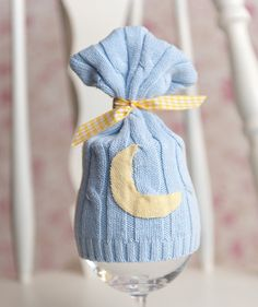 NEWBORN boy baby UPCYCLED blue yellow moon hat by ThePropStop, $9.00