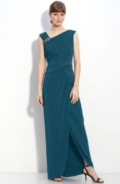 Adrianna Papell Crystal Brooch Ruched Jersey Gown in Blue (peacock) $148