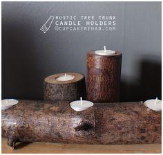 DIY tree stump rustic candle holders.