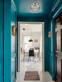 Jessica Goehring and Nathan See Artist Upstate New York House Tour 2020 - Hallway Ideas Upstate New York, Hallway Ideas Entrance Narrow, Modern Hallway, Long Hallway, Entryway Ideas, Living Colors, Teal Paint, Teal Hallway Paint, Paint Colors