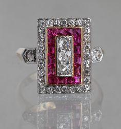 Or Antique, Antique Rings, Antique Jewelry, Vintage Jewelry, Victorian Jewelry, Art Deco Ring, Art Deco Jewelry, Jewelry Design, Ruby Jewelry