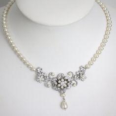 Wedding Jewelry Ivory Pearl necklace Vintage Bridal necklace Swarovski rhinestone flower Necklace Sabine Classic