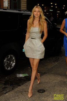 Gigi Hadid wearing Christian Louboutin Completa Pumps and Kaufmanfranco Resort 2014 Dress