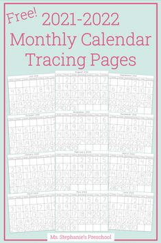 We love these calendar tracing pages to help practice tracing our numbers! Add the included seasonal coloring page to create a fun calendar each month or add a fun piece of artwork! Click for the free PDF! September Calendar, Free Calendar, Calendar Ideas, Preschool Classroom, Preschool Learning, Teaching, Everything Preschool, Calendar Activities, Cool Calendars