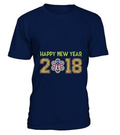 # HAPPY NEW YEAR 2018 T-SHIRT .  Solid colors: 100% Cotton; Heather Grey: 90% Cotton, 10% Polyester; All Other Heathers: 65% Cotton, 35% PolyesterImportedMachine wash cold with like colors, dry low heat