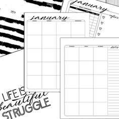12 Month LIFE Planner Download. Monthly weekly daily. #affiliate Monthly Planner, Life Planner, Layout, 12 Months, Notes, How To Plan, Bullet, Sticker, Etsy
