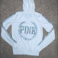 Victoria Secret Ivory Bling Jacket Victoria Secret Silver Sequin Bling Crest, White Velour, Hoodie Jacket. No longer sold in stores. Barely worn. PINK Victoria's Secret Jackets & Coats