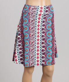 Loving this Blue & Pink Geometric Stripe Flare Skirt - Women on #zulily! #zulilyfinds