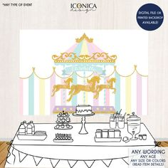 Carousel Party Backdrop First Birthday Any Age Girls Baby
