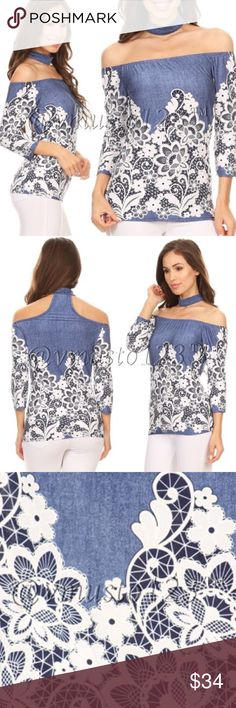 "COMING SOON!!! Denim and White Embroidered Top SUPPORT MADE IN USA CLOTHING!!!  GORGEOUS Lace and denim Embroider printed off shoulder top with attached choker accent and 3/4 sleeves. Made of 96% poly, 4% spandex. This top of women's sizing, not juniors and fits true to size. S(2-4) M(6-8) L(10-12) Price is ABSOLUTELY FIRM unless bundled as these are Made in USA and manufacturing cost is higher.  Model is 5'7"" and wearing size small ValMarie Boutique Tops"