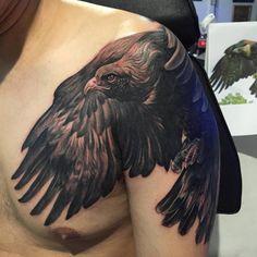 Bird Tattoo Sleeves, Nature Tattoo Sleeve, Tribal Sleeve Tattoos, Dream Tattoos, Badass Tattoos, Body Art Tattoos, Eagle Shoulder Tattoo, Mens Shoulder Tattoo, Daddy Tattoos