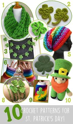 March 11, 2015 1. The Cilantro Cowl from Fiber Flux – Free 2. Clover Applique from One & Two Company – Free 3. Crochet Shamrock Garland from Everything Etsy – Free 4. Four Leaf Clover from ...
