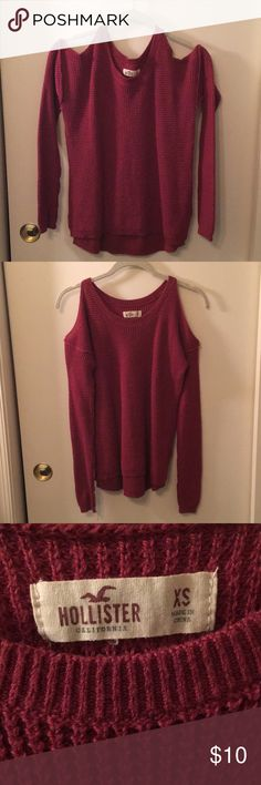 Hollister cold shoulder sweater Hollister cold shoulder sweater. Maroon color, in stains or tears. Worn/washed once, in like-new condition. Size XS but I typically wear a S or M and it fit but was a little smaller than I'd like. Can model! Hollister Sweaters