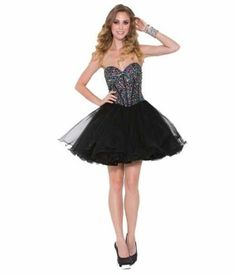 sequin short poofy beaded corset prom homecoming black dresses 2014 - 2015