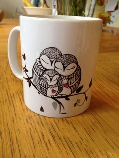 Owl family mugs. Can be personlised. copyright MelissaBentley MellodyDesign