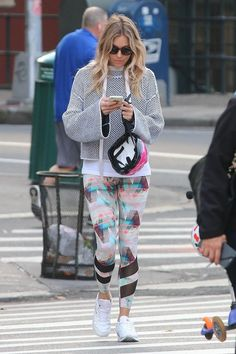 Sienna Miller wearing Reebok Classic Leather Sneakers in White, Zoe Jordan Lister Hoody and Bodyism I Am Calm Leggings