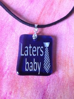 Laters Baby Sandcarved on Blue Glass by CharmingLaneGlass on Etsy, $15.00