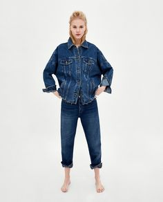 Long Denim Jacket, Zara United States, Ripped Jeans, Wide Leg, Latest Trends, Legs, Clothes For Women, Chic, Womens Fashion