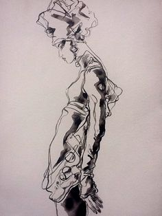 "Fashion art by Vyse Indian ink 22""x30"""