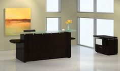 The Mayline Sterling series reception desk configuration includes a wide welcome desk and lateral file cabinet for storage. This modern reception desk offers a glass transaction counter and thick work surfaces. Modern Reception Desk, Reception Counter, Lateral File, Ikea Shelves, Filing Cabinet, Storage, Furniture, Office Desks, Home Decor