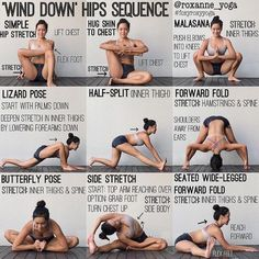 """""""'WIND DOWN' HIPS SEQUENCE Stretching at night can help your muscles relax and prepare your body for sleep. If you've been sitting at your…"""
