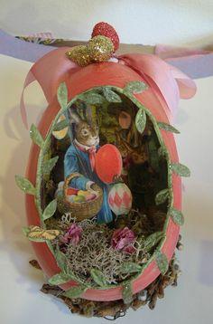 paper mache egg diorama
