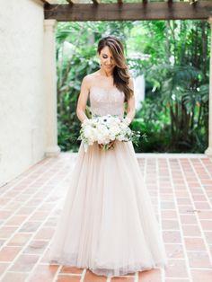 Gorgeous blush gown: http://www.stylemepretty.com/florida-weddings/miami-fl/2015/07/22/romantic-destination-garden-wedding-at-the-villa-woodbine/ | Photography: Amy Jo Royall - http://amyjoroyall.com/