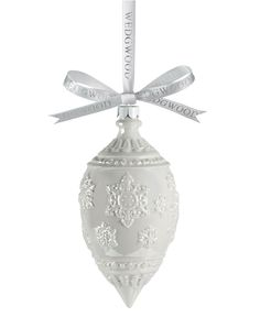 Wedgwood Christmas Ornament, White Luster Snowflake