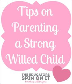 Tips on Parenting a Strong Willed Child from Kim Vij at The Educators' Spin On It