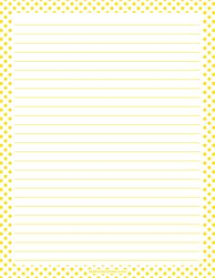 Printable yellow and white polka dot stationery and writing paper. Multiple versions available with or without lines. Free PDF downloads at http://stationerytree.com/download/yellow-and-white-polka-dot-stationery/