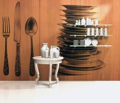 Silverware and Stack Of Dishes from the Tabletop Collection in cherry #InfusedVeneer #WallPanels by #BNIndustries