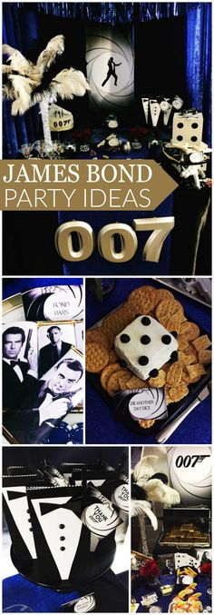 A blue and silver studded 007 party that's shaken, not stirred! See more party ideas at CatchMyParty.com!