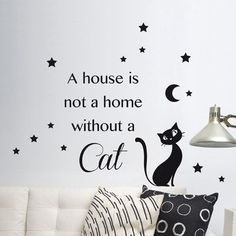 Home Decor Line Cat Silhouette Wall Decal