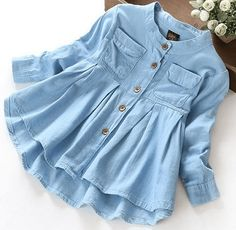 New Spring 2016 Girls blouses&Shirts denim Baby Girl Clothes Casual Soft Fabric Children Clothing Kids girls blouse Shirt Blouse En Jean, Denim Blouse, Denim Shirts, Blouse Dress, Long T Shirt Dress, Jeans Dress, Denim Jeans, Kids Outfits, Casual Outfits