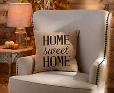 Keep your home feeling cozy with a Home Sweet Home Burlap Pillow. The rustic burlap fabric and brown stitched details perfectly match the heartwarming message. Burlap Pillows, Decorative Pillows, Throw Pillows, Owl Pillows, Burlap Fabric, Antik Sofa, Kirkland Home Decor, Sweet Home, Pillow Inspiration