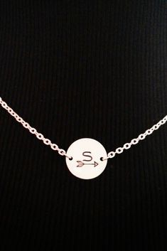 Silver Hand Stamped Necklace / Arrow of Friendship / Dainty Necklace