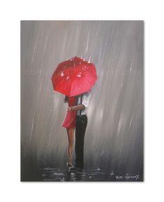 PETE RUMNEY FINE ART BUY ORIGINAL ACRYLIC OIL PAINTING KISSES IN THE RAIN in…