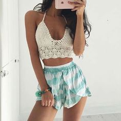 high waisted shorts and knit crop top